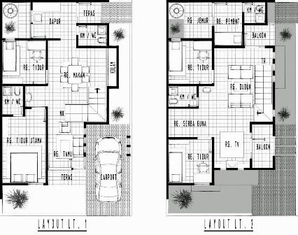 Arsitektur Rumah Minimalis Type 36 Linkk Galeri Tampilan Denah Lantai